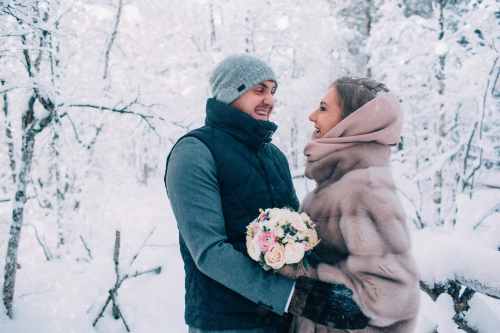 *** EXCLUSIVE *** MURMANSK, RUSSIA - JANUARY 13: The happy couple just after saying