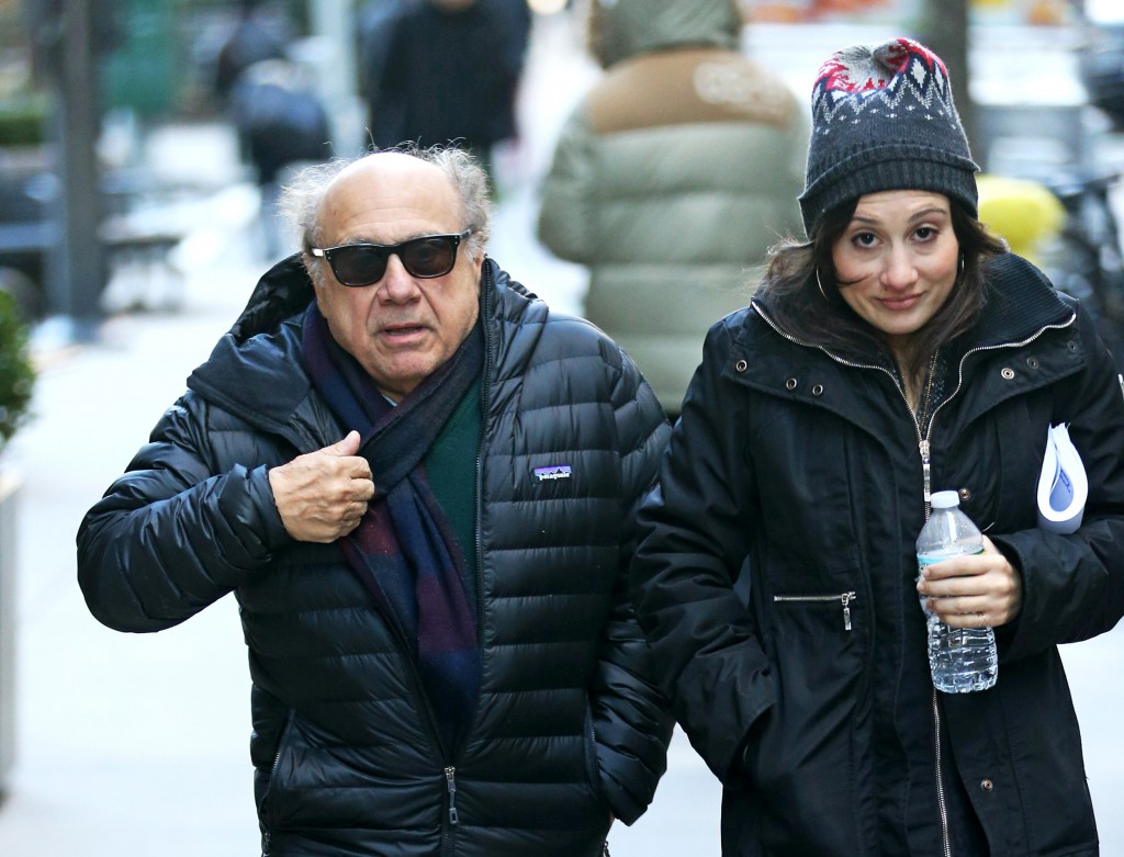 Danny Devito and daughter Lucy brave the NYC cold