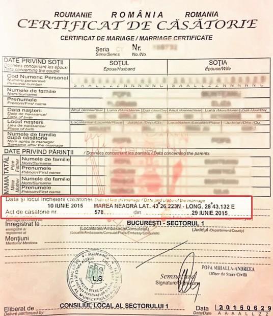 La întoarcerea în ţară, echipa lui Andrei, cel care oficiază cununia, se ocupă de acte şi vă obţine certificatul de căsătorie