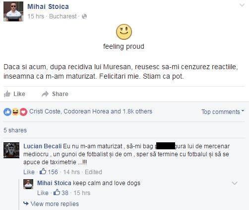 Mesajul lui Stoica și reacția virulentă a lui Lucian Becali