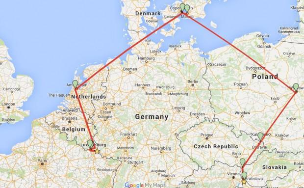 Traseul lui Adam Leyton, care a vizitat 12 țări într-o singură zi