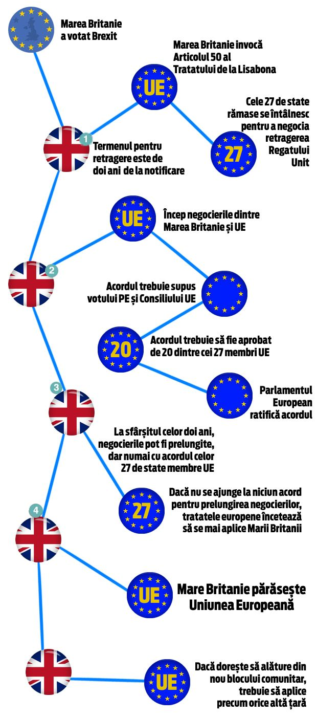Infografie, Brexit, procedura de urmat, Marea Britanie