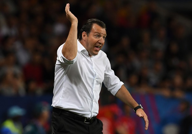 epa05393278 Belgium coach Marc Wilmots gestures during the UEFA EURO 2016 round of 16 match between Hungary and Belgium at Stade Municipal in Toulouse, France, 26 June 2016. (RESTRICTIONS APPLY: For editorial news reporting purposes only. Not used for commercial or marketing purposes without prior written approval of UEFA. Images must appear as still images and must not emulate match action video footage. Photographs published in online publications (whether via the Internet or otherwise) shall have an interval of at least 20 seconds between the posting.) EPA/VASSIL DONEV EDITORIAL USE ONLY