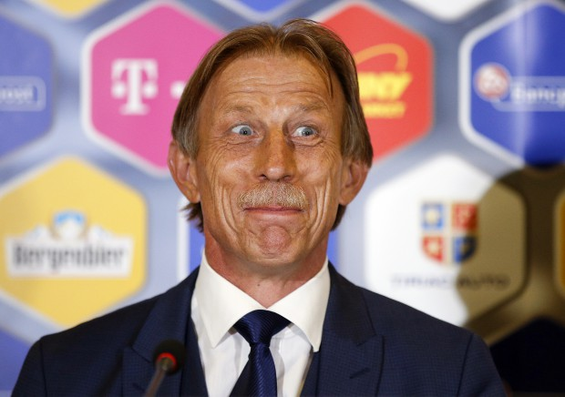 epa05413344 German soccer coach Christoph Daum, 62, reacts during a press conference at National Arena stadium in Bucharest, Romania, 07 July 2016. Romanian Football Federation (FRF) nominated Daum as head coach of the Romanian national soccer team, to succeed Anghel Iordanescu, whose contract was not renewed after Romania failed to qualify for the UEFA EURO 2016 round of 16. EPA/ROBERT GHEMENT