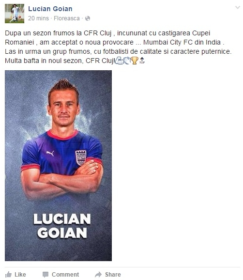 Lucian Goian a anunțat pe Facebook că merge în India