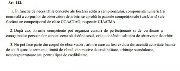 Pasajul ferm din RODAAF, care nu permite să fie pe lista de observatori foști arbitri mânjiți