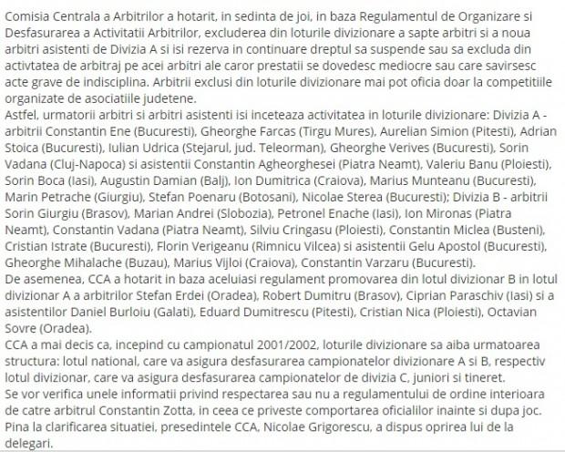 Un articol din 2001 despre mulți arbitri excluși, printre care și Silviu Crângașu și Aurelian Simion