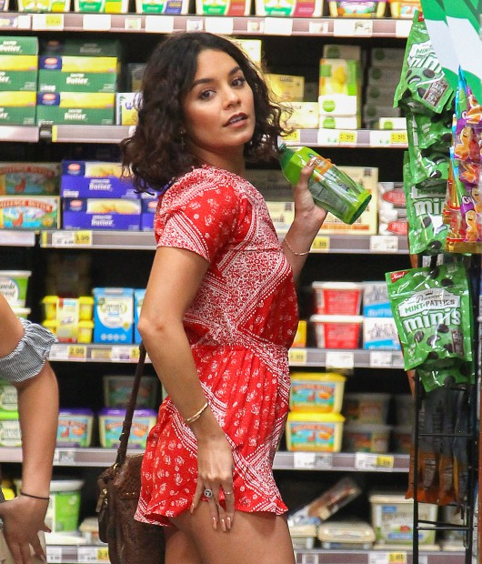 Vanessa Hudgens Shows Off Her Butt While Reaching For Some Groceries