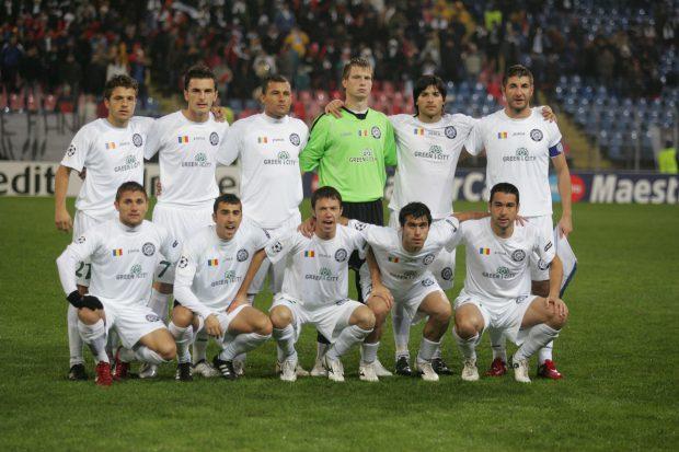 Echipa Unirea Urziceni pozeaza, inaintea meciului cu Glasgow Rangers, din etapa a patra a grupei G a Ligii Campionilor, disputat in Bucuresti, miercuri, 4 octombrie 2009.