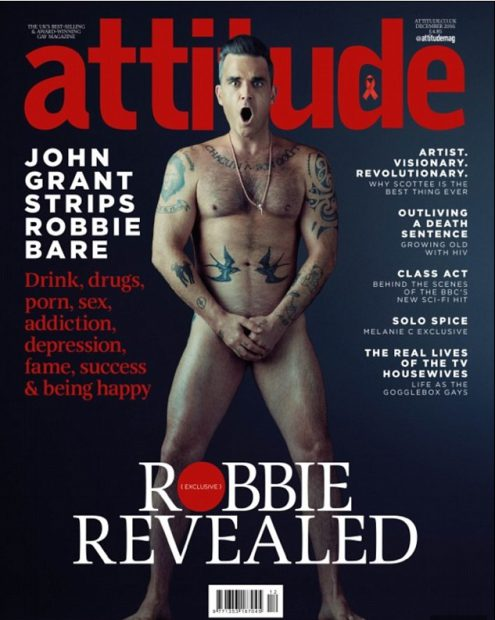 Robbie Williams, nud pe coperta unei reviste