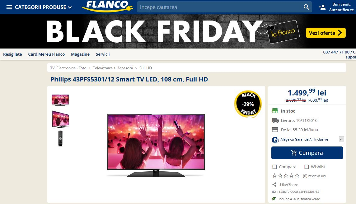 Televizoare de Black Friday 2016.