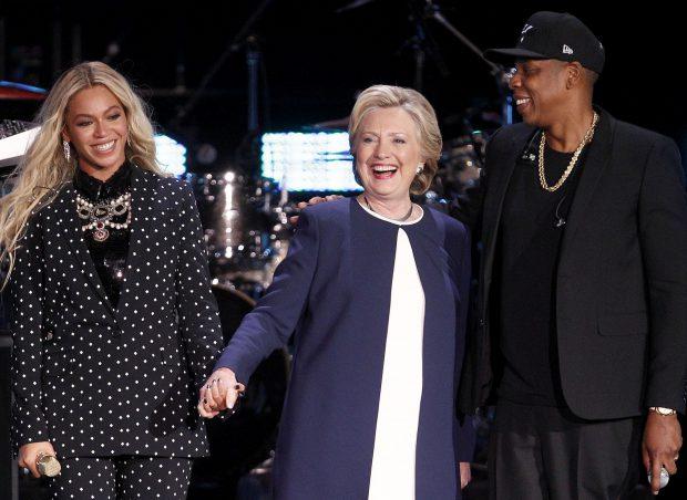 Hillary Clinton este susținută de numeroase vedete, printre care Beyonce și Jay Z