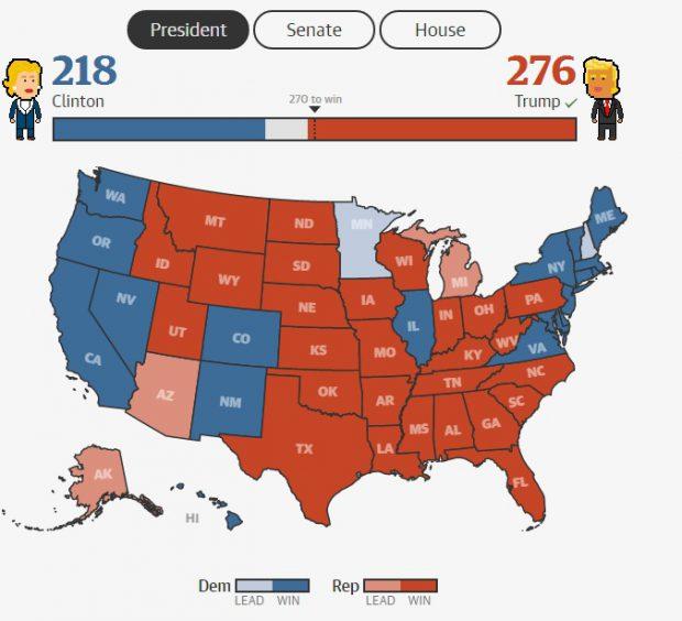 harta rezultate alegeri sua