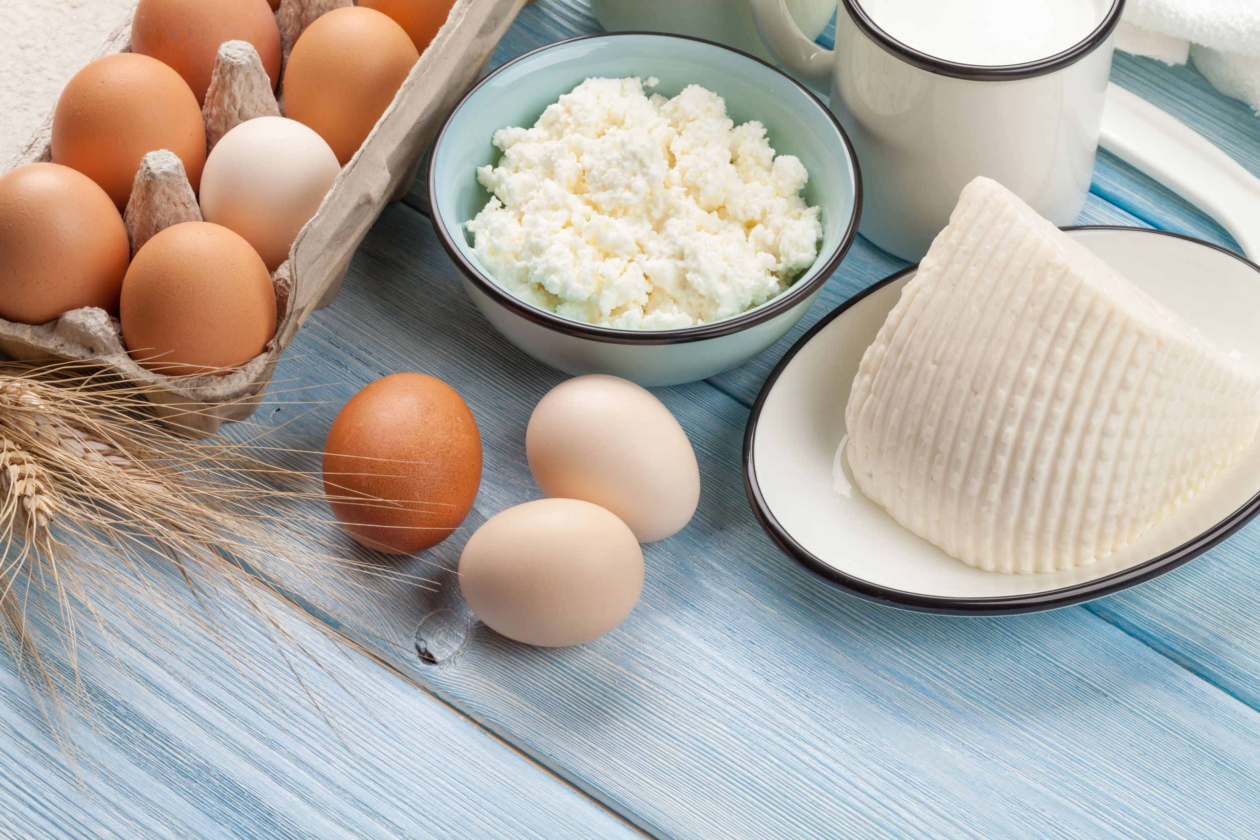 43704972 - dairy products on wooden table. sour cream, milk, cheese, eggs and yogurt