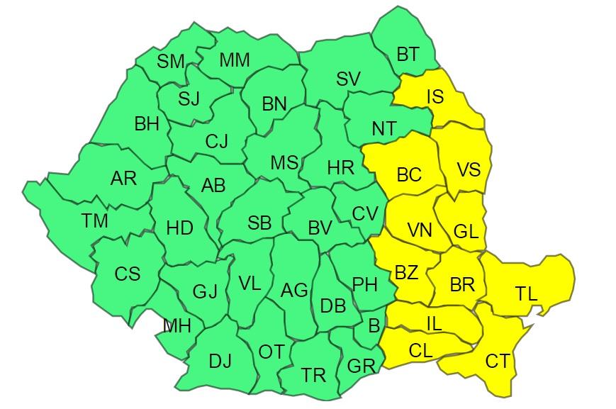 UPDATE / Cod galben de ger și vânt în toată țara. Avertizările au fost actualizate de ANM