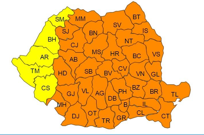 UPDATE. Cod portocaliu de ger în Capitală și 36 de județe. Cod galben de ger în 5 județe din vestul țării