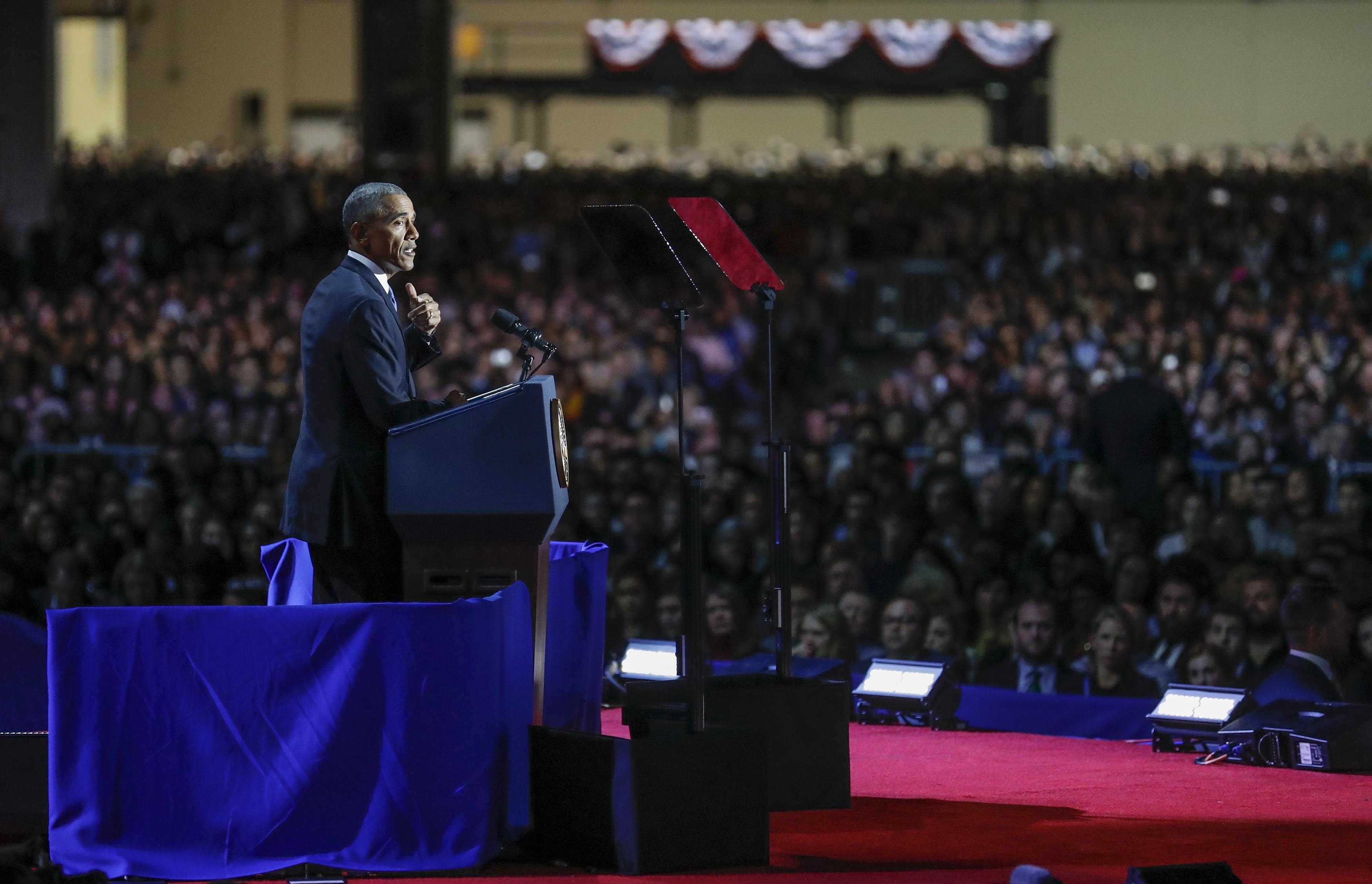 US President Barack Obama delivers his farewell address