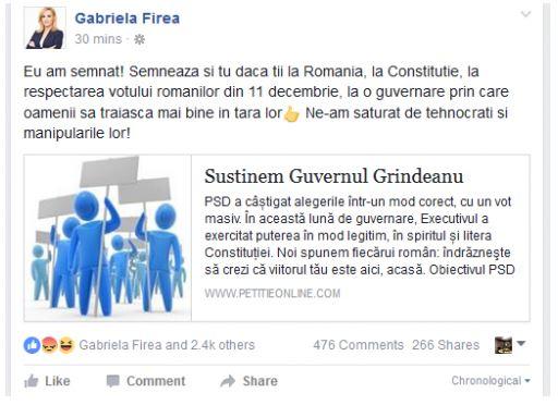 Gabriela Firea și-a închis contul de Facebook