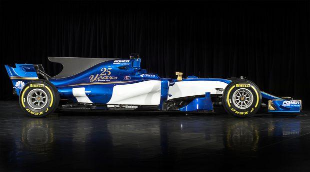 """Monopostul Sauber pentru sezonul 2017 al Formulei 1 este dotat, de asemenea, cu """"aripioară"""". (FOTO: EPA)"""