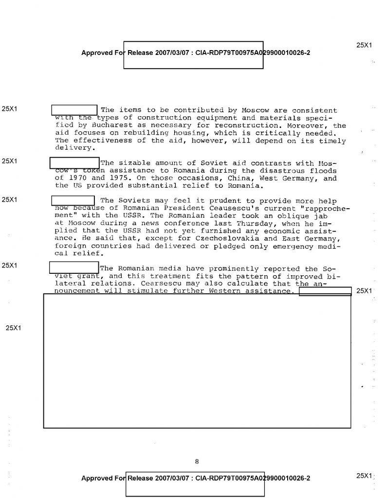 documente CIA declasificate cutremur 1977 ajutor Rusia