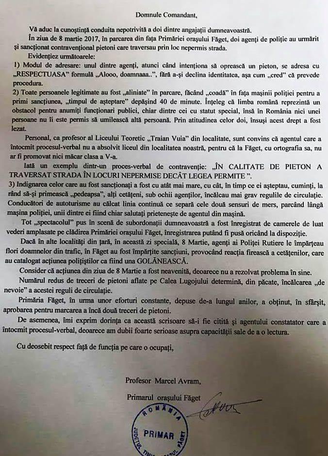 """Un primar din Timiș, supărat pe gramatica polițiștilor: """"Nu cred că a făcut liceul la noi, nu ar fi promovat nici clasa a V-a"""""""