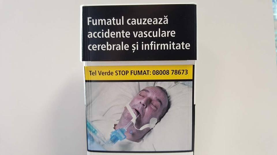 Poza unui român în comă, pe pachetele de țigări