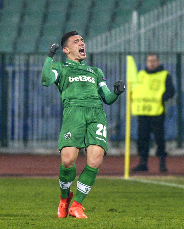 Claudiu Keșeru se bucură pentru un gol marcat pentru Ludogoreț în Liga Europa. (FOTO: EPA)