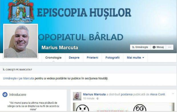 Pagina de Facebook a preotului Marius Mărcută