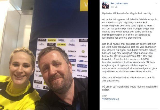 Mesajul lui Per Johansson a fost însoțit de o poză a antrenorului alături de Paula Ungureanu