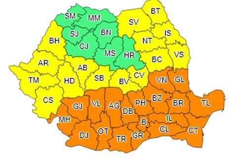 COD PORTOCALIU de caniculă extins în peste jumătate din țară, vineri și sâmbătă. COD GALBEN, în mai multe județe