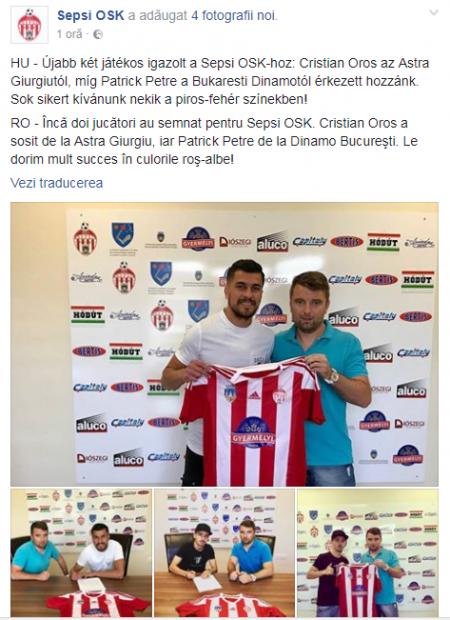 Patrick Petre a semnat cu Sepsi OSK. Nou-promovata în Liga 1 la fotbal l-a deturnat din drumul către Iași