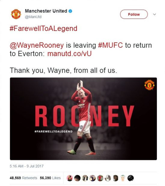 Mesajul de adio adresat de Manchester United