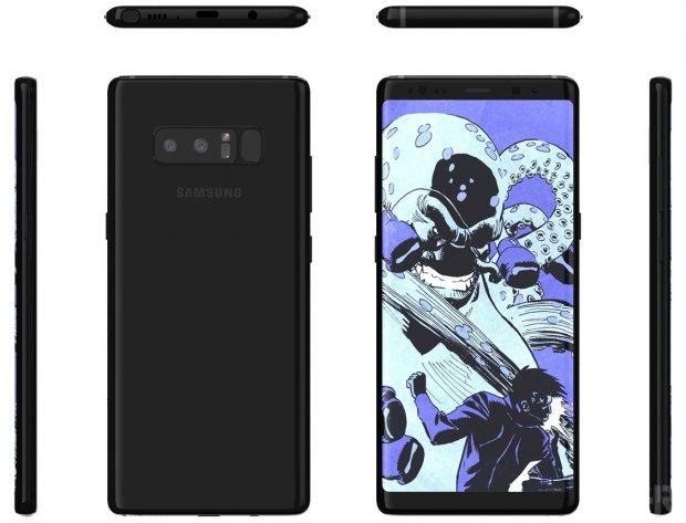 Samsung Galaxy Note 8: preț, specificații, precomenzi: Phabletul de top al celor de la Samsung va fi lansat în data de 23 august. Un producător de carcase arată că senzorul de amprentă este situat pe partea din spate, în dreptul camerei duale