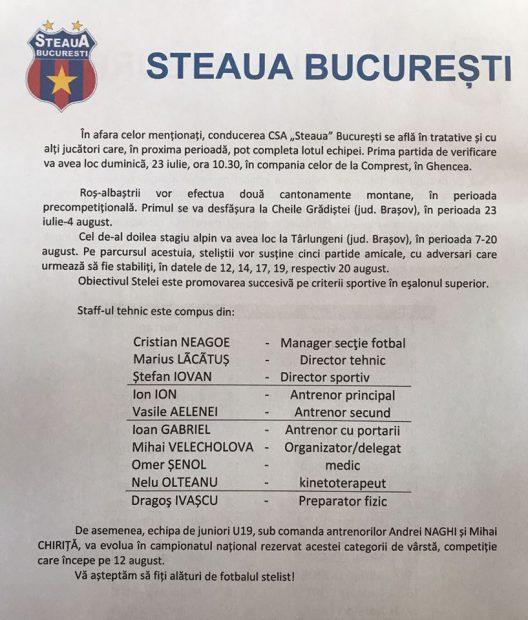 S-a stabilit lotul CSA Steaua! Se cunoaște și noua organigramă a staff-ului tehnic! | VIDEO