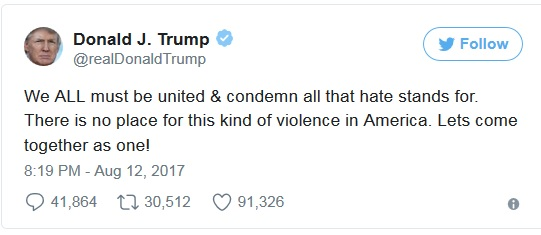 """Donald Trump a condamnat violențele din Virginia. """"Trebuie să fim toți uniți"""""""