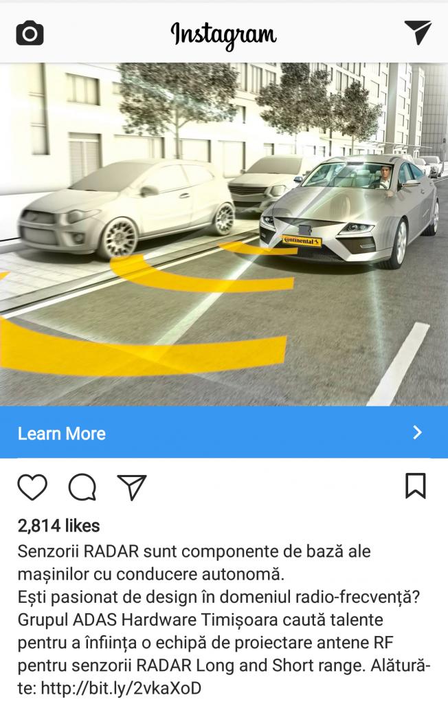 Continental caută ingineri care să lucreze la sisteme autonome de condus la Timișoara. Anunț de pe Instagram