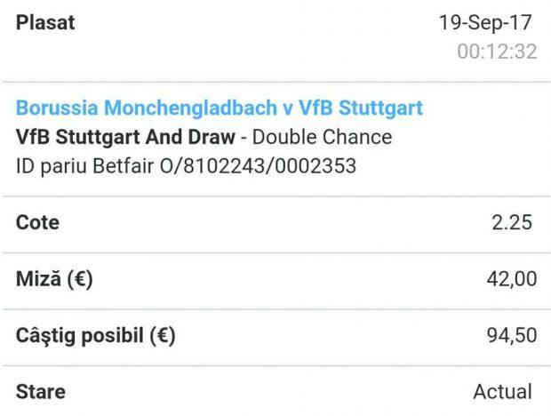 Cota zilei și avancronică pentru meciul Monchengladbach vs Stuttgart