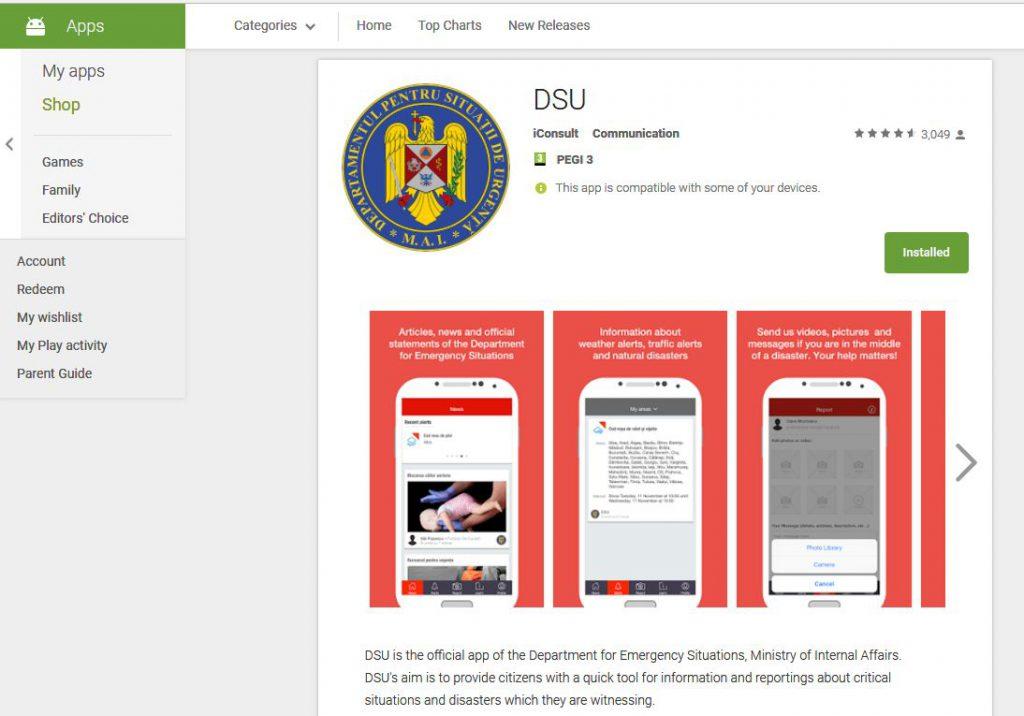 Aplicația DSU, aplicația oficială a Departamentului pentru Situații de Urgență. Captură ecran