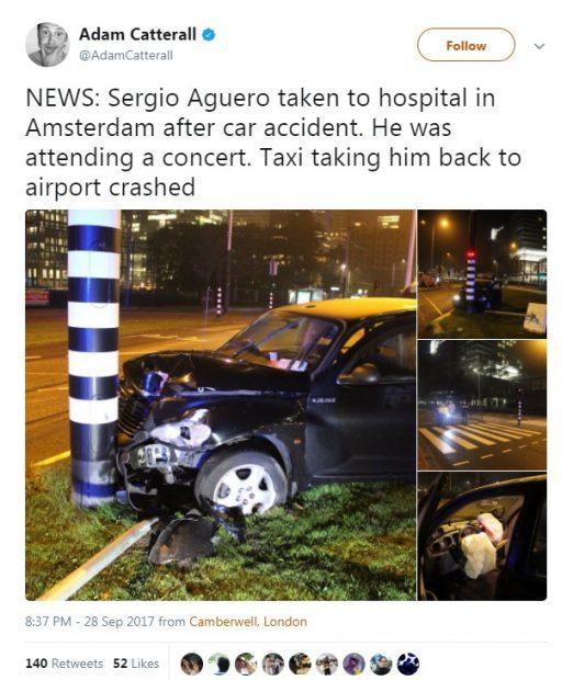 """Kun Aguero era într-un taxi care s-a """"pupat"""" cu un stâlp"""