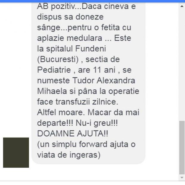 Un mesaj în care se făcea apel pentru donare de sânge necesar unei fetiţe de 11 ani, internată la spitalul Fundeni, a apărut joi pe reţelele de socializare