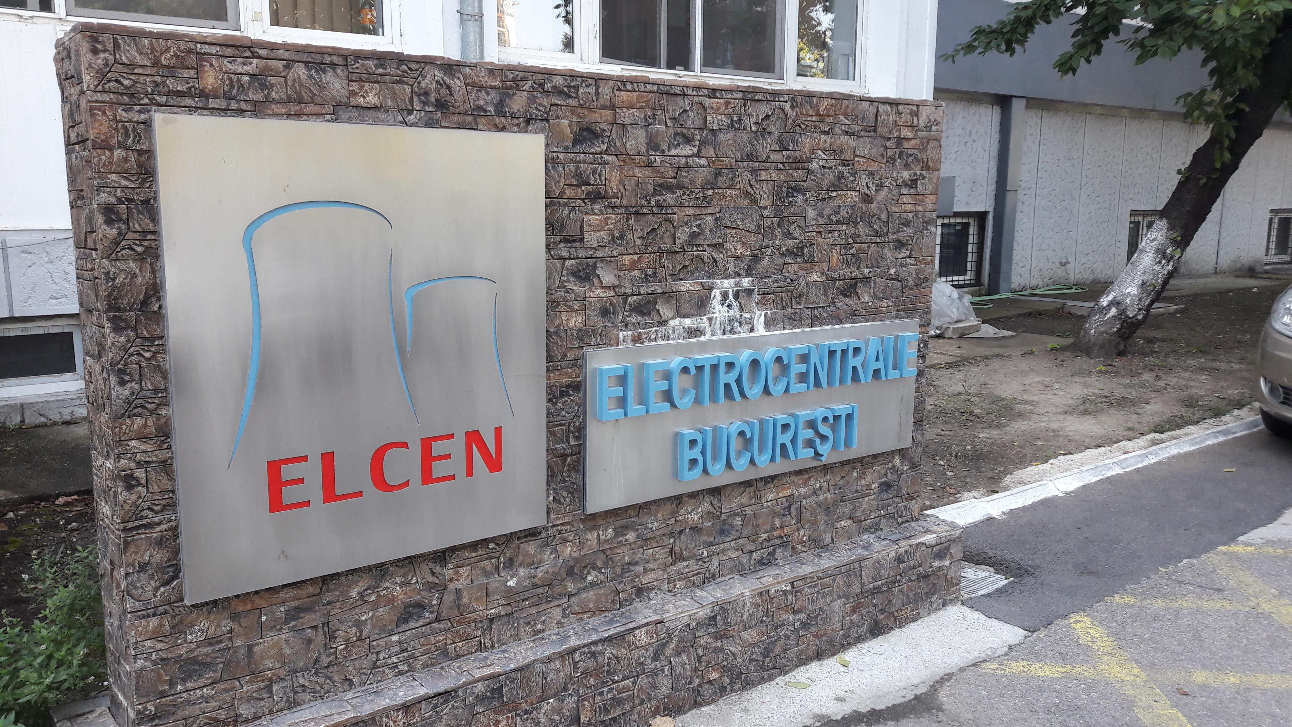 ELCEN este producătorul de apă caldă și căldură al Capitalei. Logo ELCEN din fața sediului