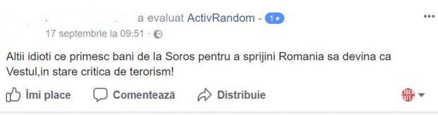 Unii ultilizatori de Facebook au acuzat ActivRandom că primește bani de la George Soroș.