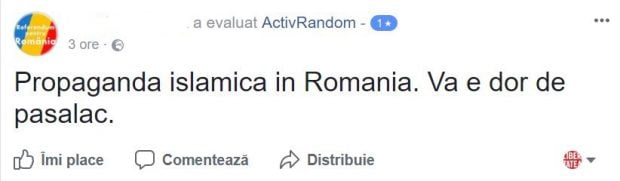 Mesaj anti-refugiați pe Facebook