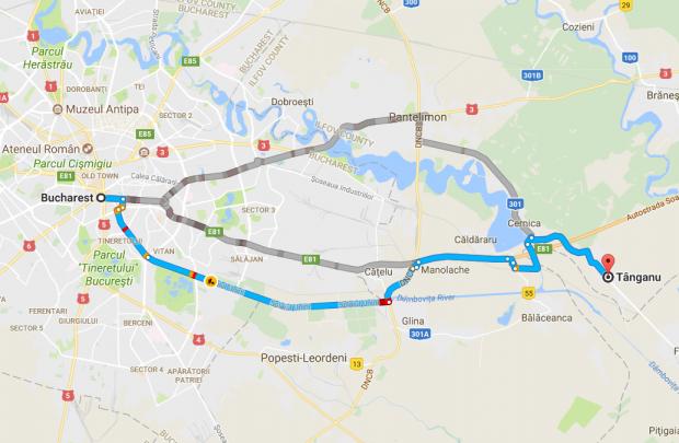Harta Bucuresti-Tanganu
