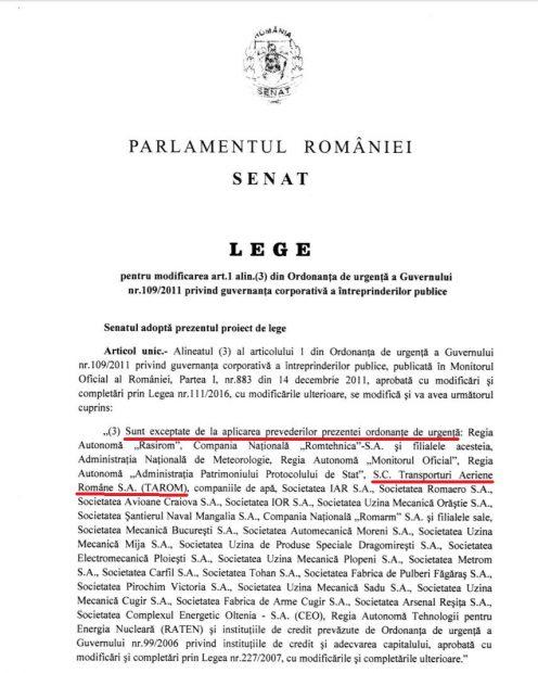 Propunere de modificare a OUG 109/2011 | Forma votată de Senat