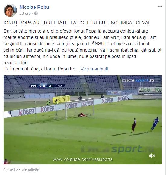 Primarul Timișoarei, Nicolae Robu, îl amenință pe antrenorul Ionuț Popa cu demiterea