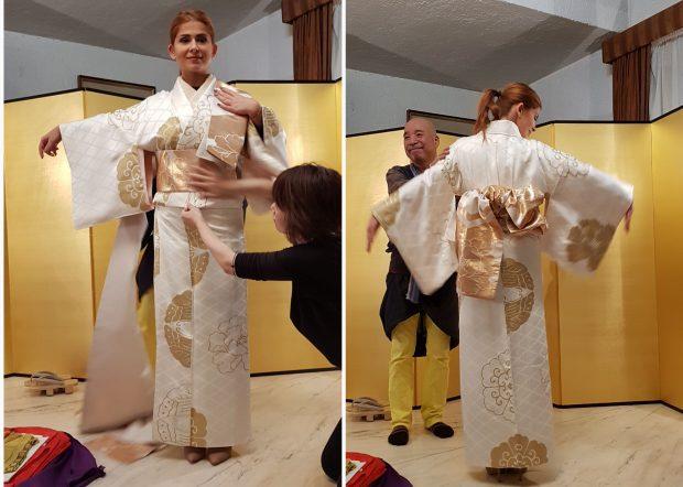 Ioana Bran a purtat un kimono cu fir de aur. Au îmbrăcat-o designerul Nobuaki Tomita și asistentele lui