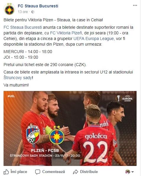 Viktoria Plzen - FCSB, în Liga Europa 2-0. Înfrângere asumată. Gigi Becali a luat la țintă doi jucători. Reacții / VIDEO