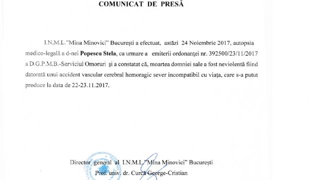 Comunicatul INML, despre cauza morții actriței Stela Popescu