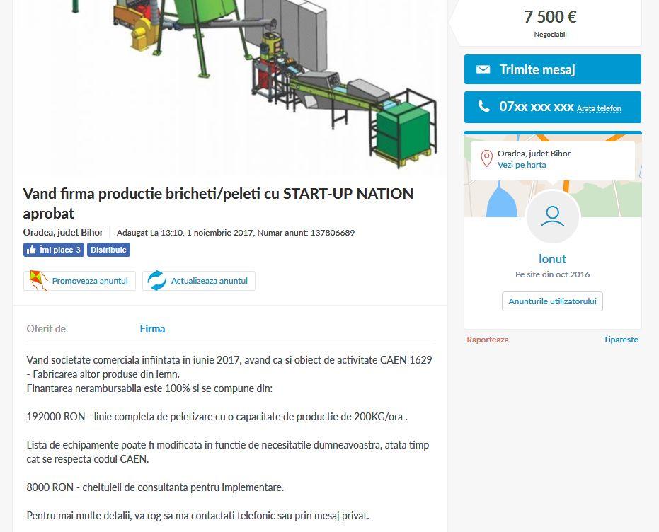 . Mai mulți antreprenori care au primit finanțare prin programul Start-Up Nation și-au scos firmele la vânzare pe OLX. Captură de ecran de pe OLX.ro